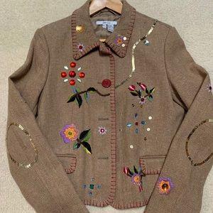 NWT Zara embroidered tweed blazer